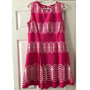 Pink and white pleaded dress